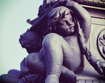Statue photo print, Fine Art Photography, 8x10 print - neoclassical art - angel art - statue photo - boy statue - wall decor - architecture