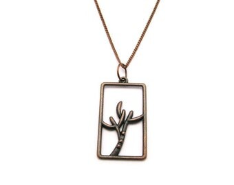 Branch Necklace Copper Twig Necklace Framed Branch Necklace Branch Jewelry  Twig Jewelry Nature Lovers Gifts