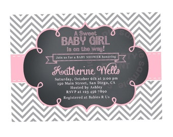 Baby Shower Invitation. Baby Girl Shower Invitation. Grey and Pink Girl Baby Shower Invitation. Chevron and Chalkboard. Modern Digital file.