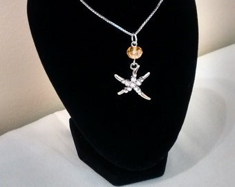 Sterling Silver and Swarovski crystal Starfish Charm.