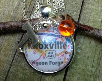Tennessee Volunteers necklace, Tn Vols necklace, game day necklace, TN charm, University of Tn, Knoxville map, Ut Orange and White necklace