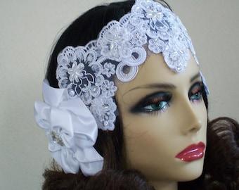Flapper Bridal Headpiece, 1920s Bride, Bridal Headpiece, Gatsby Bridal, Vintage Bridal Headband, Beaded Alencon Lace Headpiece, Bridal Crown