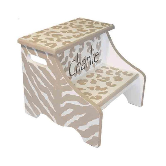 Animal Print Step Stool Safari Theme By Aveqcollection On Etsy