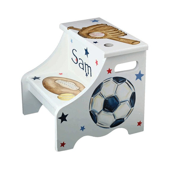 Sports step stool all star theme personalized by ...