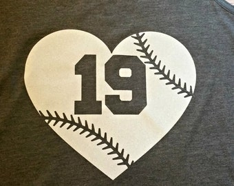 IRON on BAseball Heart with stitching and Cut Out Number