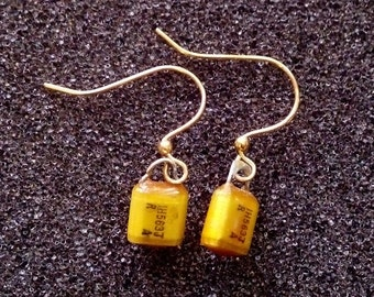 Vintage Yellow Capacitor Earrings