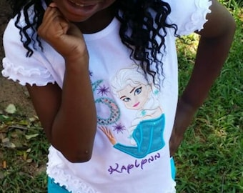 Ice Princess Frozen Birthday shirt with Matching Hair Bow, your choice of colors, personalized name and number, applique, embroidered