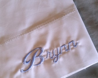 Monogrammed Pillowcase Standard; Embroidered Pillowcase; Standard Size Pillowcase 250 TC