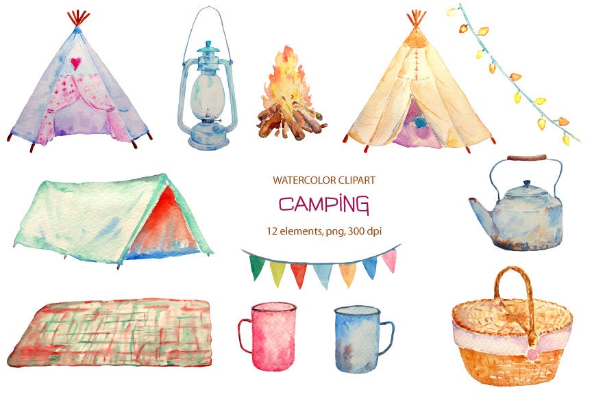 Hand painted watercolor camping clipart teepee tent camp ...