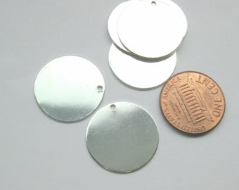 Bright Silver Plated Copper Blank Stamping Tags 20mm Flat Round (No.104)
