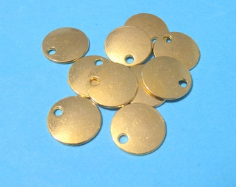 10pcs Gold Plated Blank Stamping Tags 16mm Flat Round (No.870)
