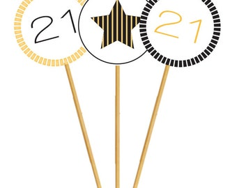 Cupcake Toppers w/ Custom Text | Elegant Black and Gold Party