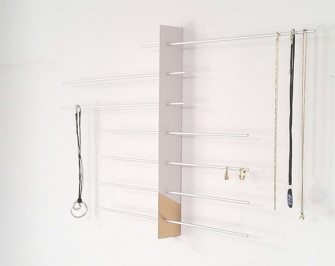 Wall Mount Jewelry Display White Gold Boutique Display craftshow Display Jewelry holder Earring Holder Necklace Holder Jewelry Storage