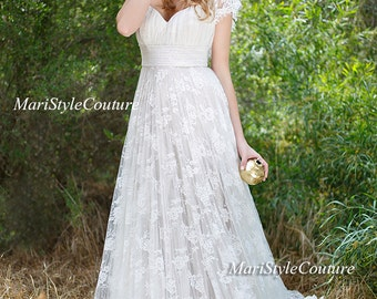Lace Wedding Dress In Vintage Style Open V Back Gown Boho