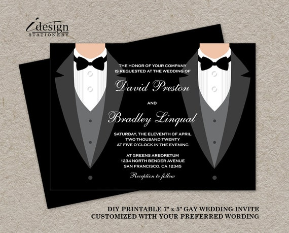 Gay Marriage Wedding Invitations: Tuxedo Gay Wedding Invitation DIY Printable Black And White