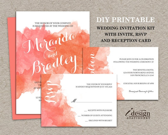 Printable Wedding Invitations Kits: DIY Coral Watercolor Wedding Invitation Kit Printable Ombre