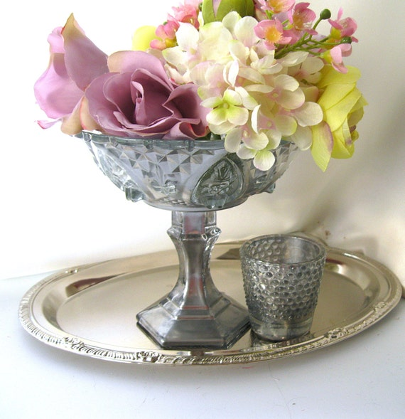 Silver compote mercury glass set of vase candle