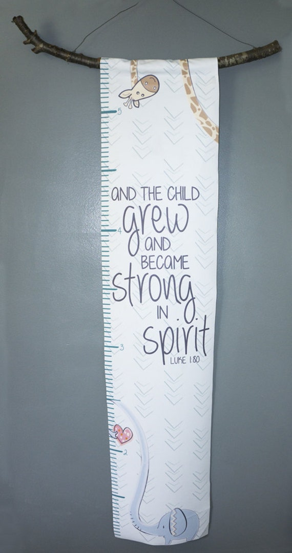 Canvas Elephant and Giraffe Growth Chart with Bible Verse- And the Child grew and became strong in the spirit - Luke 1:80