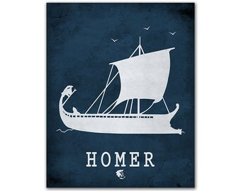 Homer Iliad Odyssey - Mediterranean Ancient Greek Ship Traveling Tireme Classroom Book Art Bookish Decor Literary Gifts Reading Room