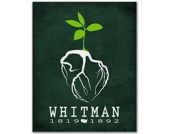 Walt Whitman Leaves of Grass - Human Heart Roots Hope Green Grass Small Plant Bookish Decor Reading Gift Ideas Library American Author