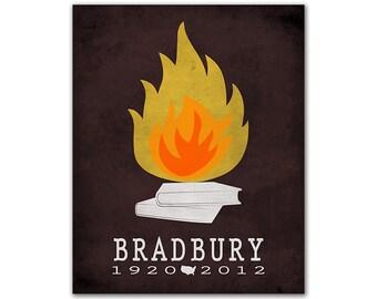 Ray Bradbury Fahrenheit 451 - Temperature Books Burning Dystopian Novel Literary Gift For Writers Literary Decor American Author