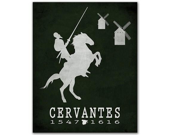 Miguel Cervantes Don Quixote - Man Horse Windmills Illusion Delusion Bookish Decor Book Lover Gift Bibliophile Art Spanish Author