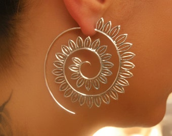 Silver Earrings - Silver Spiral Earrings - Gypsy Earrings - Tribal Earrings - Ethnic Earrings - Indian Earrings - Statement Earrings (ES45)