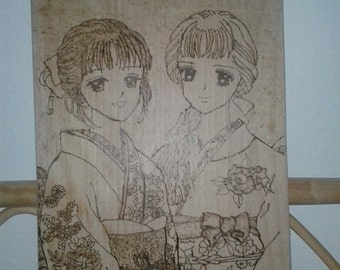 square-wooden chopping board-ash with Miki and Meiko Marmelade Boy HANDMADE ANIME MANGA