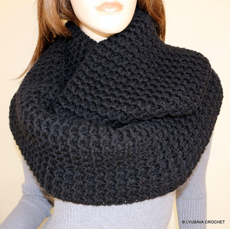 Crochet Infinity Scarf : Crochet Scarf Black Scarf Infinity Scarf by CrochetedByLyubava