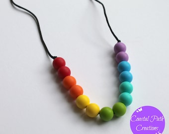 Rainbow necklace, 'CRYSTAL'. Chewable nursing teething rainbow necklace. Perfect for babywearing