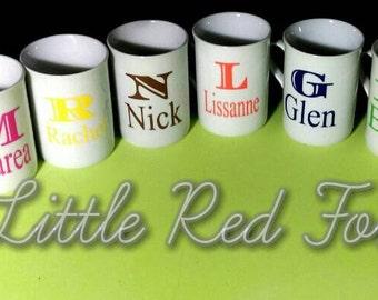 custom name and initial mug. coffee mug. personalised mug.