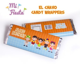 El Chavo del Ocho, Chapulin Colorado, Chilindrina, Quico, Ñoño, Popis Candy Chocolate Wrapper Personalized Birthday Party Printables Digital