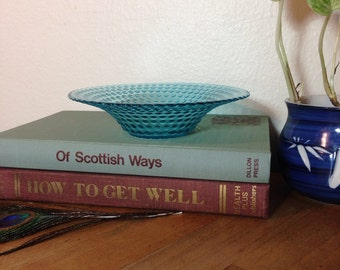 Blue Hobnail Glass Dish