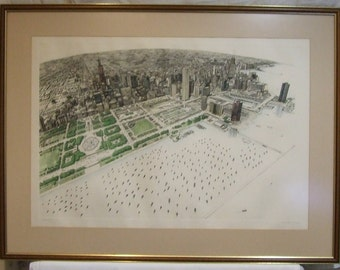 Chicago Lee Lorenz signed Limited Edition Lithograph print USA framed New Yorker magazine cartoonist Freight cost extra искусство подарок