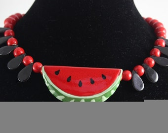 Vintage Signed Flying Colors Ceramic Watermelon Red Necklace