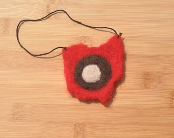 Felted Ohio with Buckeye, Made to Order, brooch, magnet, hair clip, ornament