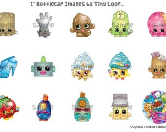 """15 Shopkins Limited Edition Bottlecap Images 1"""" Circle 4x6 Instant Download"""