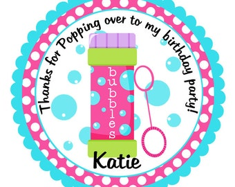 Bubbles Stickers-Bubbles Birthday Tags-Set of 12