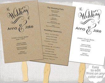 "Wedding program fan template Rustic ""Cantoni"" Calligraphy DIY printable program fans YOU EDIT digital download for kraft / any color card"
