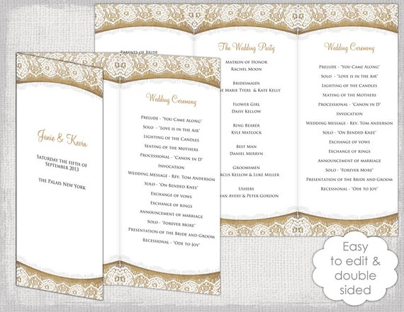 Rustic Wedding program template Burlap & Lace DIY