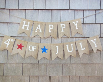 4th of July Banner, 4th of July Garland, Patriotic Banner, Patriotic Decor, Burlap, Burlap Bunting Garland, Photo Prop, Happy 4th of July