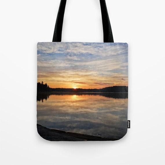 Reusable Grocery Bag, Tote Bag, Carry All, Teacher Gift, Lake Sunrise, Boundary Waters, Minnesota Photo, Nature Photography, Beautiful Lake
