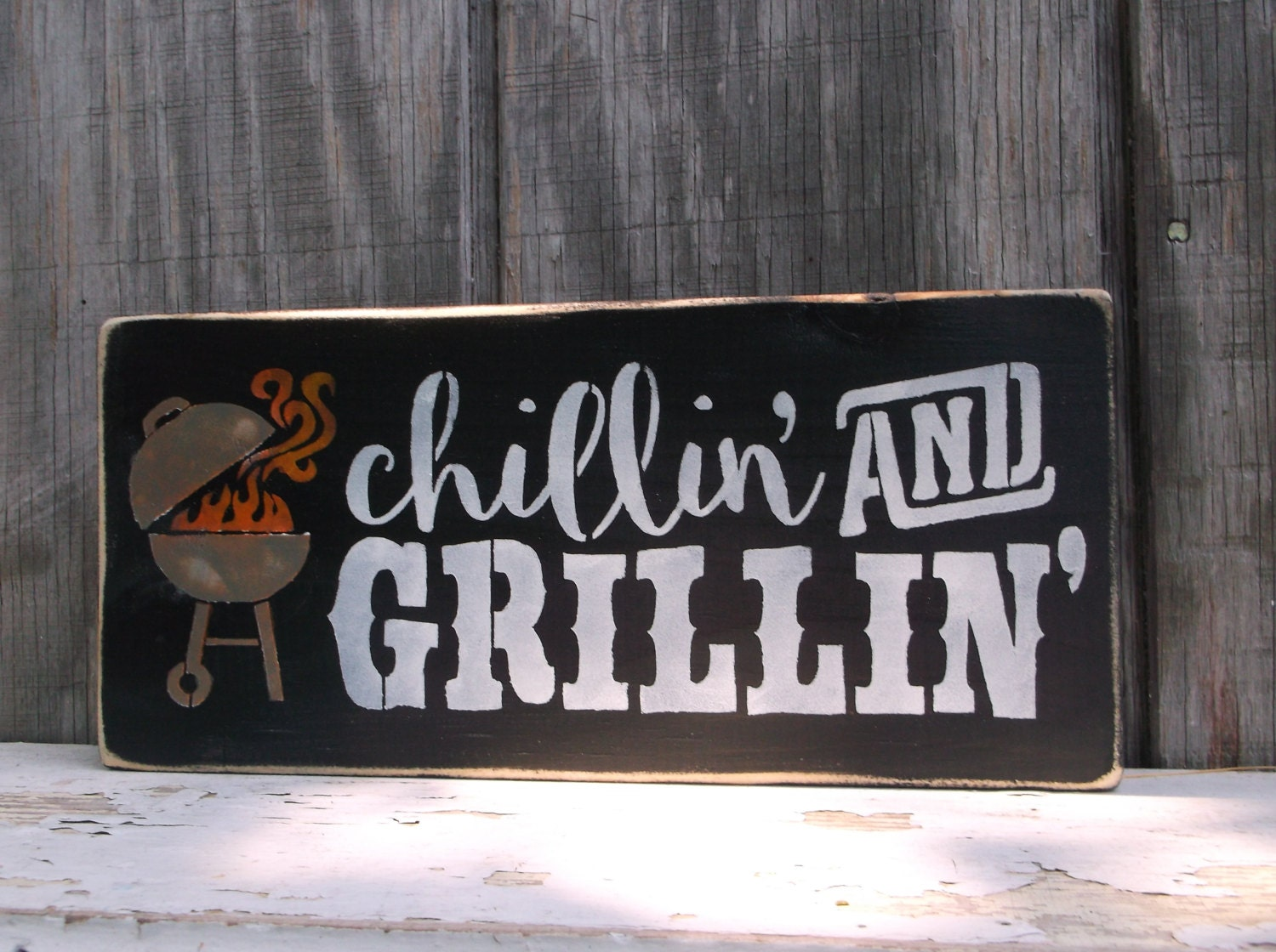 grillin 39 and chillin 39 bbq sign backyard barbecue by. Black Bedroom Furniture Sets. Home Design Ideas