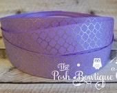 Tea for Two Purple Quatrefoil Gold Foil Grosgrain 7/8 Inch Ribbon