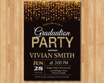 Graduation Party Invitation. Gold Glitter Graduation Invite, Backyard. Modern Teen Grad Announcement, High School College. Printable digital