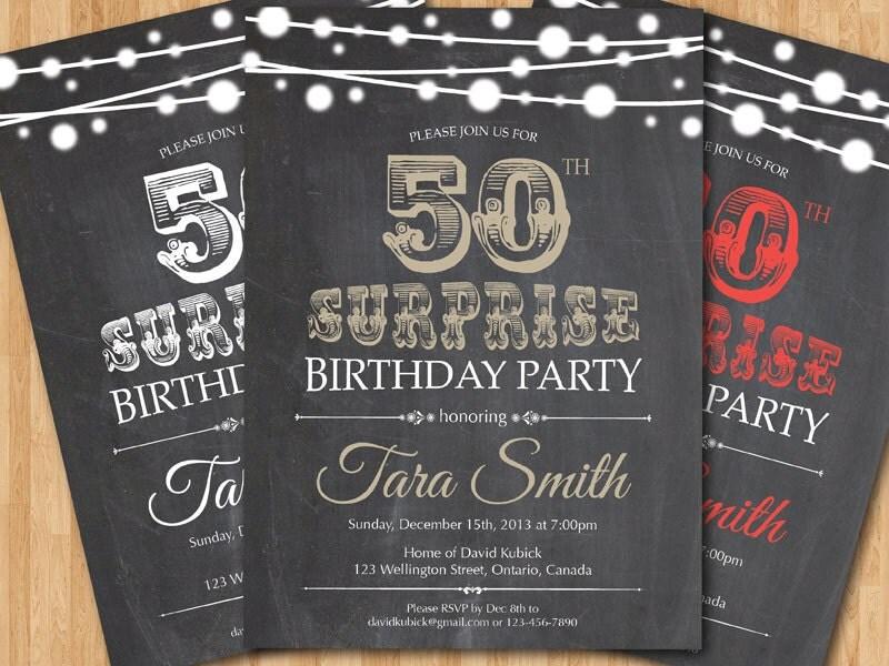 Invitaci n del cumplea os 50 de sorpresa pizarra negro - Menu para cumpleanos adultos ...