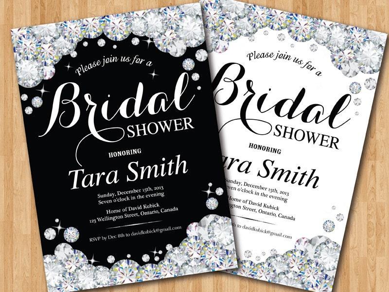 Bridal shower invitation black and white bling glam glitter for Black and white bling wedding invitations