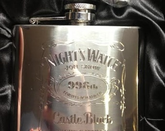 Night's Watch HIPFLASK game of thrones Stainless Steel JON SNOW 6 oz hip flask