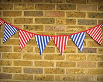 Blue and white, red and white striped bunting