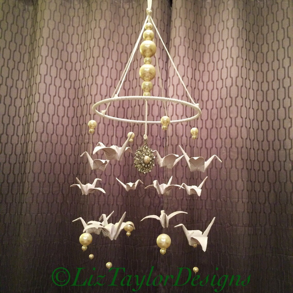 Origami Crane Mobile Paper Chandelier White By